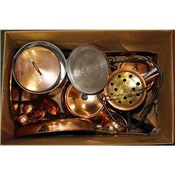 ESTATE BOX OF ASSORTED COPPER ORNAMENTS