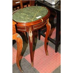 GRANITE TOP SIDE TABLE WITH GOLD TONE ACCENTS