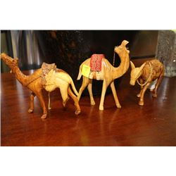 SET OF 3 ESTATE WOOD CARVED DONKEY AND TWO CAMELS