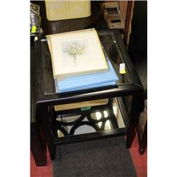 SHOWHOME WOOD AND GLASS END TABLE SOLD WITH