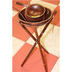 ESTATE WOOD SALAD BOWL SET WITH STAND