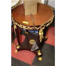 TWO WOOD WITH GOLD TONE ACCENT END TABLES WITH