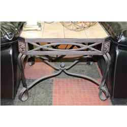 METAL AND TILE TOP END TABLE