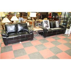 BLACK LEATHERETTE SOFA AND LOVE SEAT