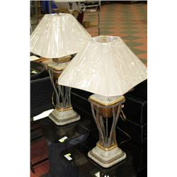 PAIR OF IRON/MARBLE LAMPS