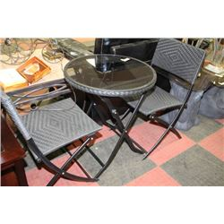 3-Piece Wicker Table & Chairs - All Foldable