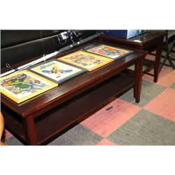 Wood Coffee Table & Side Table w/ bevelled