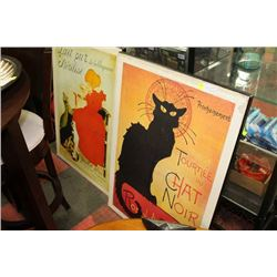 SET OF TWO LARGE WOOD CAT POSTER PLAQUES
