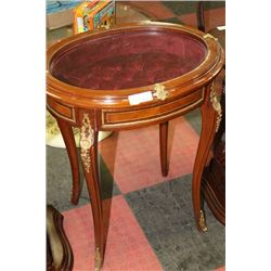 WOOD WITH GOLD TONE ACCENT DISPLAY END TABLE