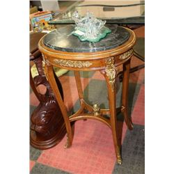 WOOD AND MARBLE TOP END TABLE WITH GOLD TONE