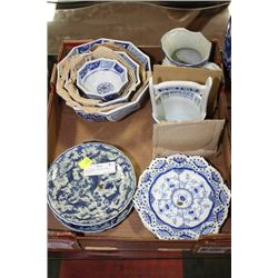 TRAY OF BLUE & WHITE DISH, DECOR ETC.