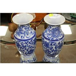 PAIR OF BLUE & WHITE VASES