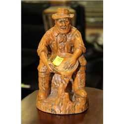 ESTATE GOLD PANNING ORNAMENT SOLD WITH WOOD