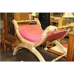 WOOD GOLD TONE HALL BENCH