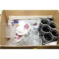 ESTATE BOX OF VINTAGE GLASSES AND ROYAL ALBERT