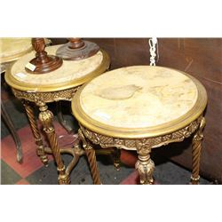 PAIR OF ROUND STONE TOP END TABLES