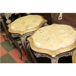 PAIR OF GOLD TONE STONE TOP END TABLES