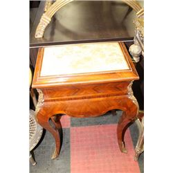 WOOD TONE STONE TOP END TABLE WITH GOLD TONE