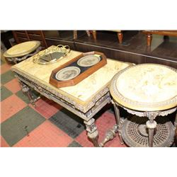 STONE TOP 3 PIECE GOLD TONE COFFEE TABLE SET