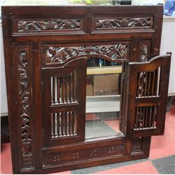 WOOD CARVED SHUTTER MIRROR