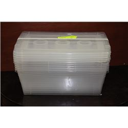THREE PACKS OF SMALL PLASTIC CONTAINERS