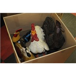 BOX OF ROOSTER ORNAMENTS