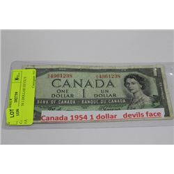 CANADA 1954 1 DOLLAR DEVIL'S FACE BILL