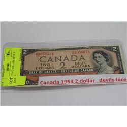 CANADA 1954 2 DOLLAR DEVIL'S FACE BILL