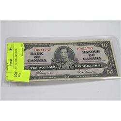 CANADA 1937 1O DOLLAR BILL