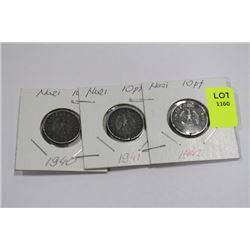 THREE NAZI 10 PFENNIG COINS-1940,41,42 X 3