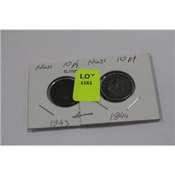 NAZI 10 PFENNIG COINS X2 1943,44