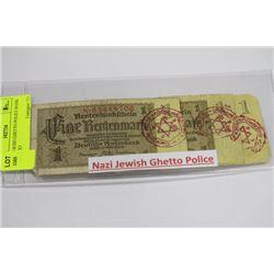 NAZI JEWISH GHETTO POLICE BANK NOTES X3
