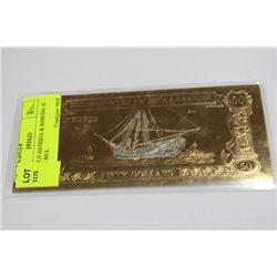 23KT GOLD ANTIGUA & BABUDA 50 DOLLAR BILL