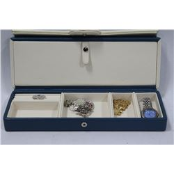 BLUE SNAP CLOSED TRAVELLING JEWELLERY CASE