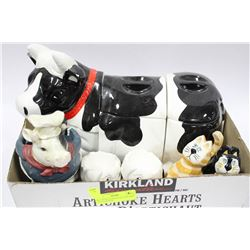 COW CANISTER W SALT AND PEPPER SHAKERS ETC