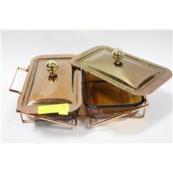 ANCHOR HOCKING COPPER AND GLASS SERVING SET
