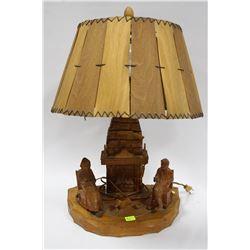 """VINTAGE MARCEL QUAY """"SIGNED"""" HAND CARVED LAMP"""