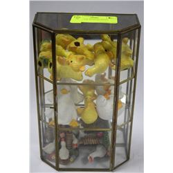 GLASS CASE WITH FIGURINES