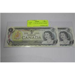 GEM UNCIRC 1973 $1 NOTES, CONSEC S/N'S X2