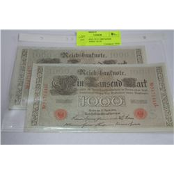 UNC GERMAN 1910 1000 MARK NOTES, CONSEC S/N'S X2
