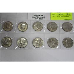 10 USA KENNEDY HALF DOLLARS, 1971-1989