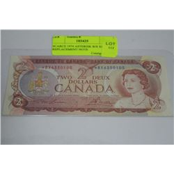 SCARCE 1974 ASTERISK B/X $2 REPLACEMENT NOTE