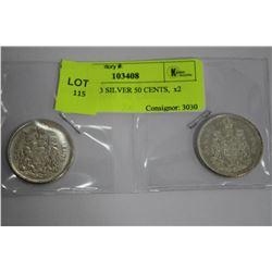 QEII 1962-63 SILVER 50 CENTS,  x2