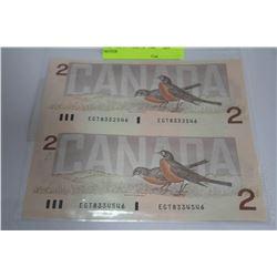 UNC UNCUT PAIR OF 1986 'ROBIN' $2 NOTES