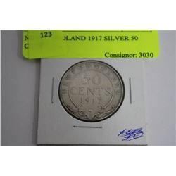 NEWFOUNDLAND 1917 SILVER 50 CENT