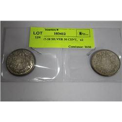 QUII 1957-58 SILVER 50 CENT,   x2