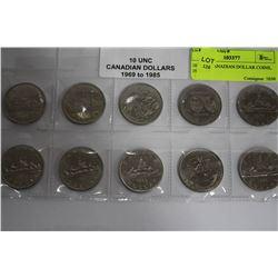 10 UNC. CANADIAN DOLLAR COINS, 1969-1985