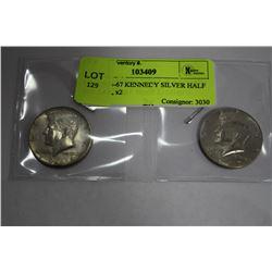 USA 1966-67 KENNEDY SILVER HALF DOLLAR, x2