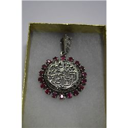 LADIES SILVER RUBY PENDANT SET WITH 18 COMPOSITE/