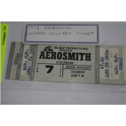 1978 AEROSMITH UNUSED CONCERT TICKET